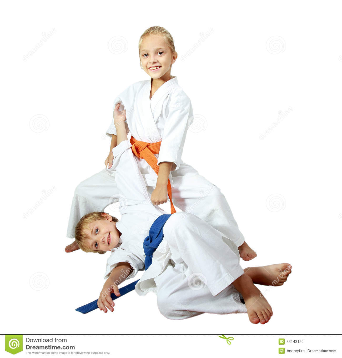 Http Www Dreamstime Com Stock Photo Cheerful Kids Athletes Kimono Doing Throws Image33143120