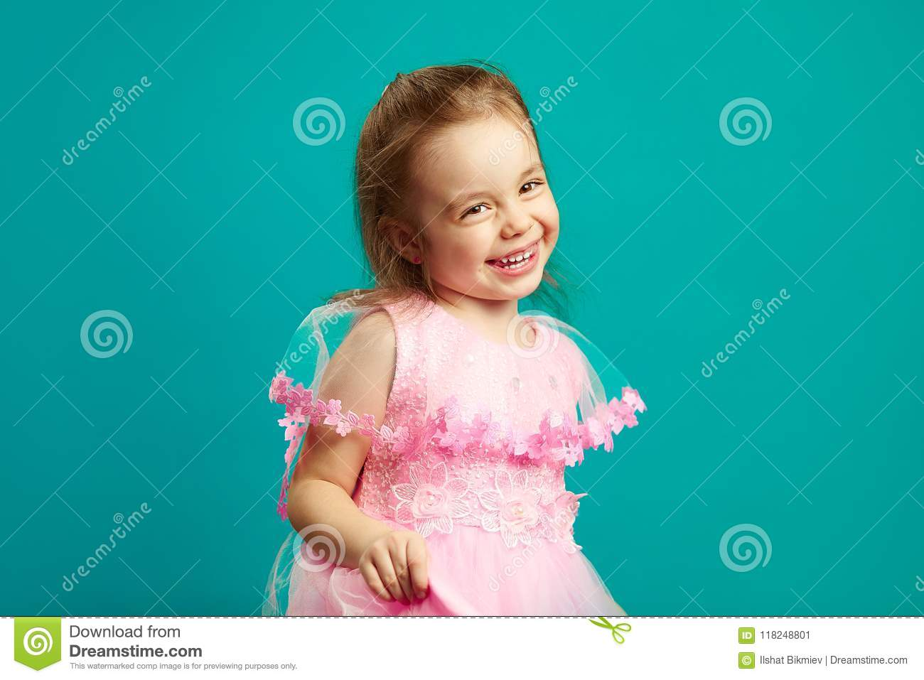 4c80fbf3be2e Cheerful Little Girl In Beautiful Pink Dress Stock Image - Image of ...