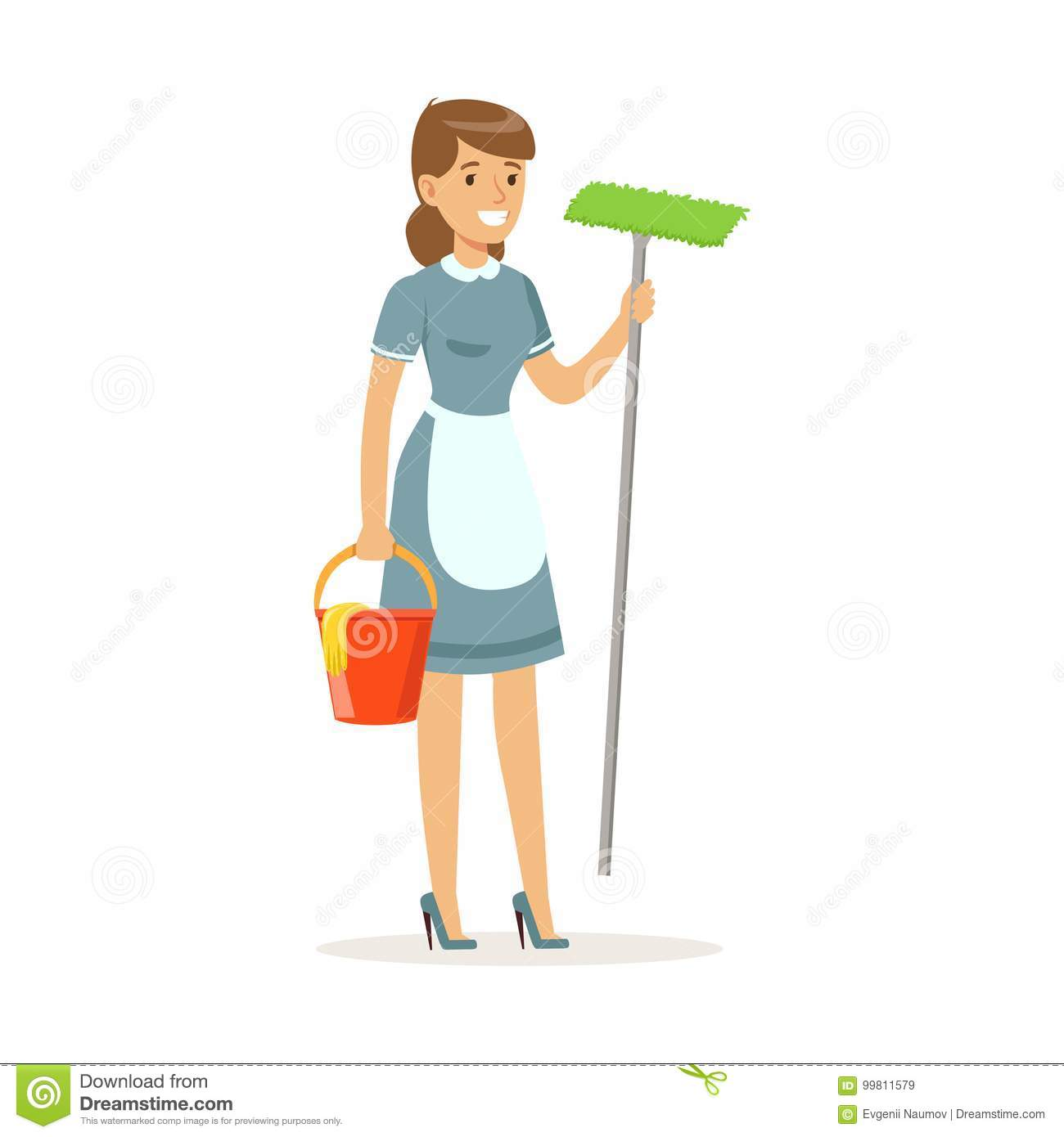Cheerful Maid Character Wearing Uniform Standing With Bucket And Mop