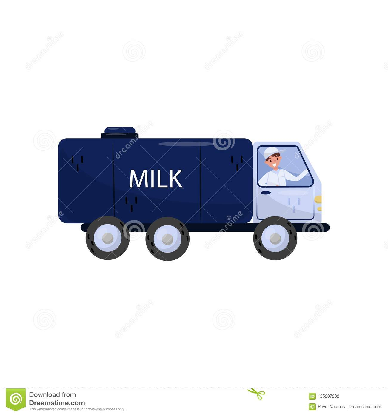 Cheerful man driving truck with milk tank. Vehicle with big blue cistern. Isolated flat vector design