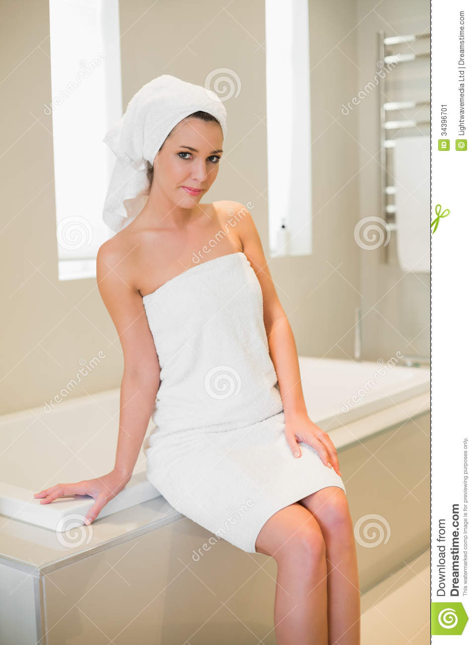 Portrait Of The Young Woman Sitting In A Bath Stock Image