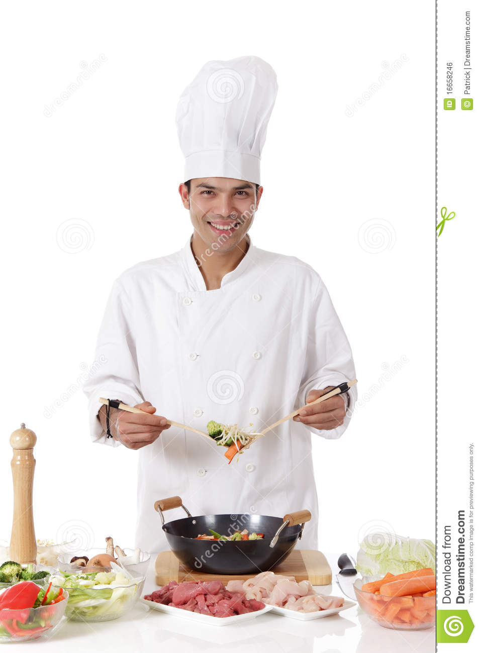 Cheerful nepalese man chef fresh ingredients royalty free for Fresh chef kitchen
