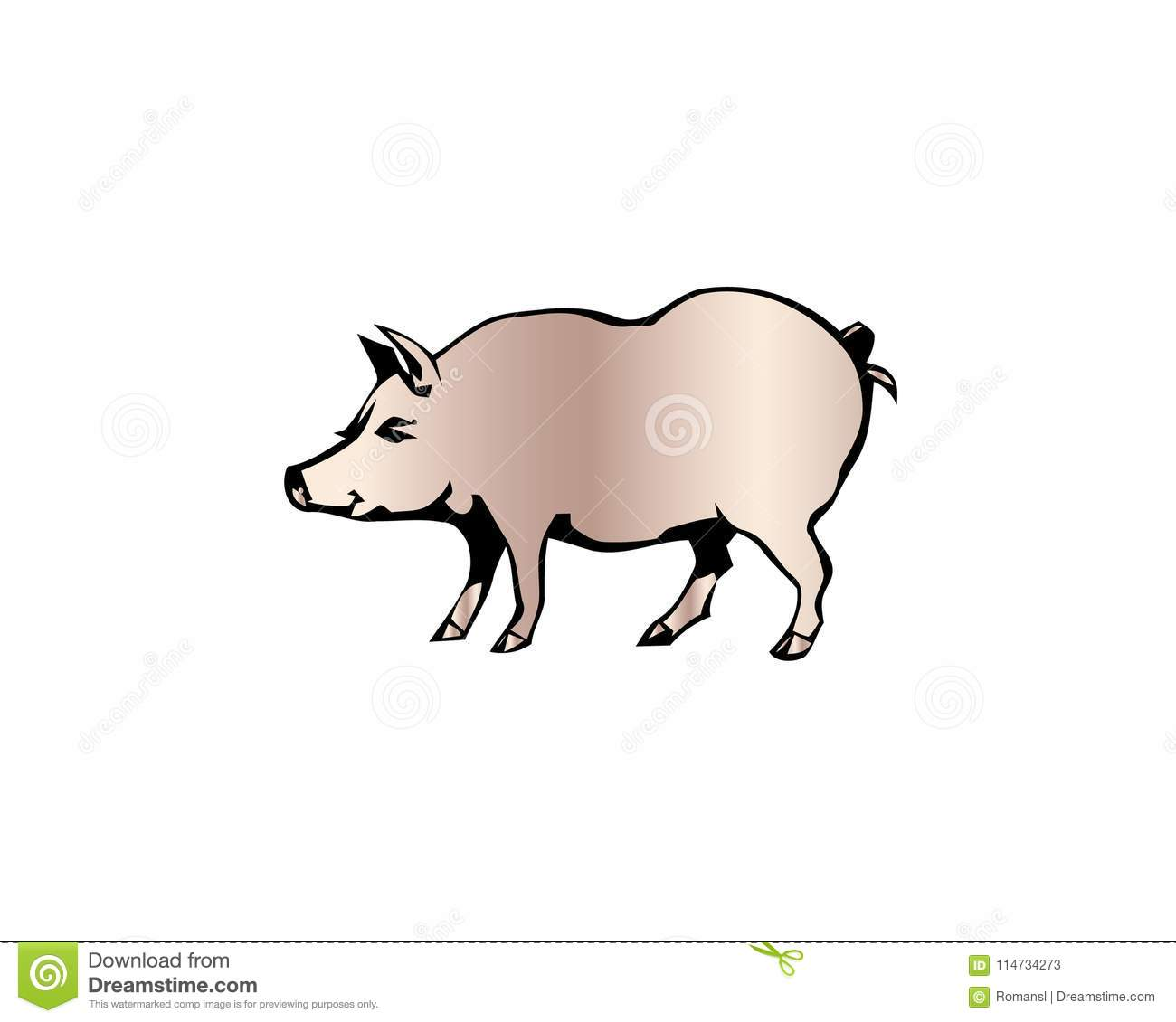 cheerful pig funny pig vector domestic isolated mammal