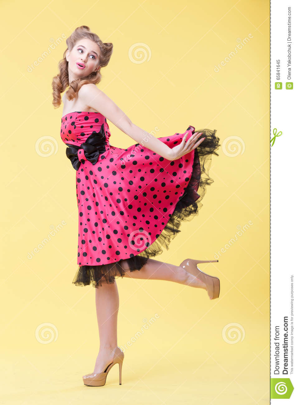 Cheerful Pin-up Girl Is Flirting With You Stock Image - Image of ... 327cc38c4905