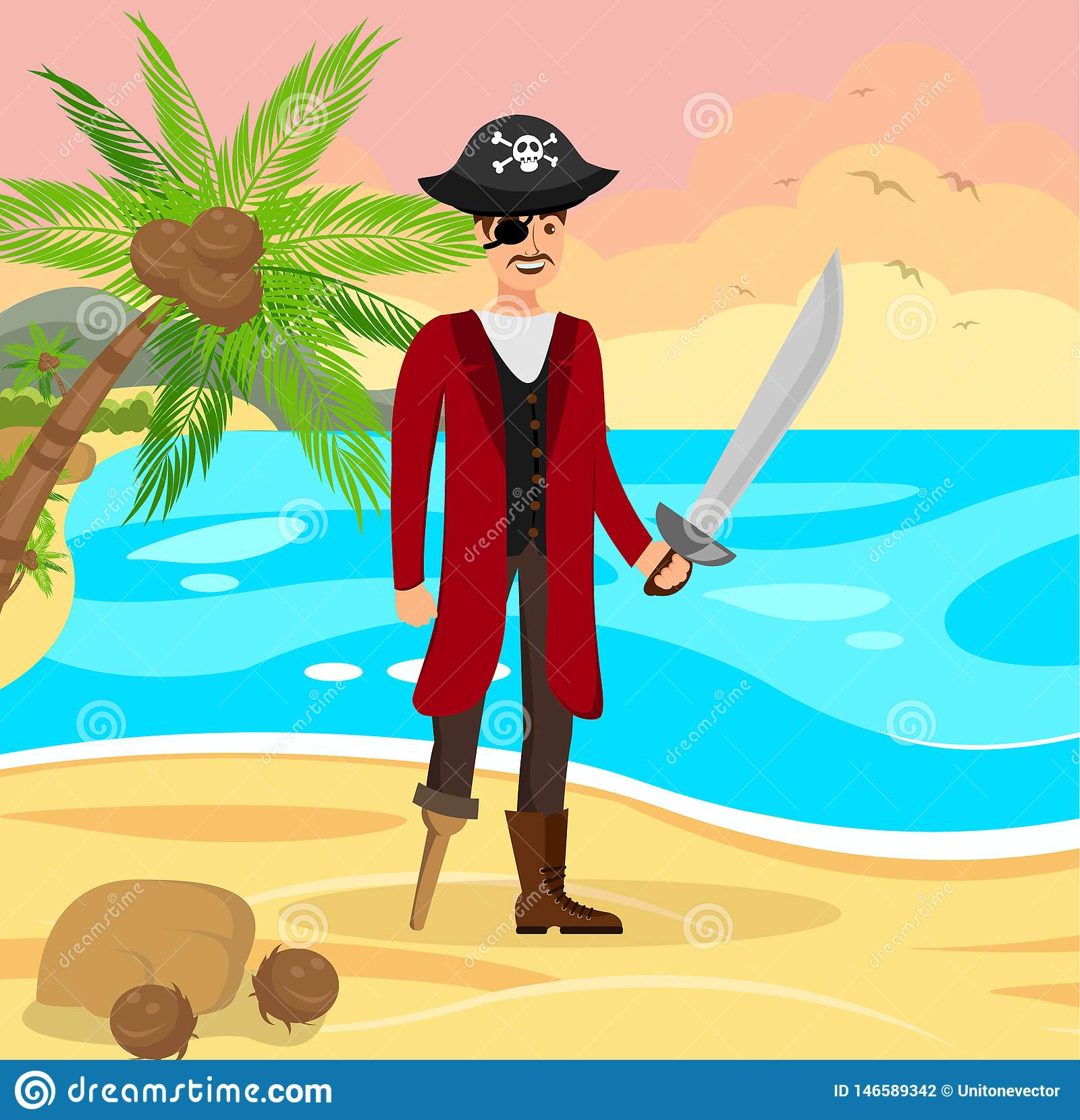 Cheerful Pirate Capitan Flat Color Illustration Stock Vector