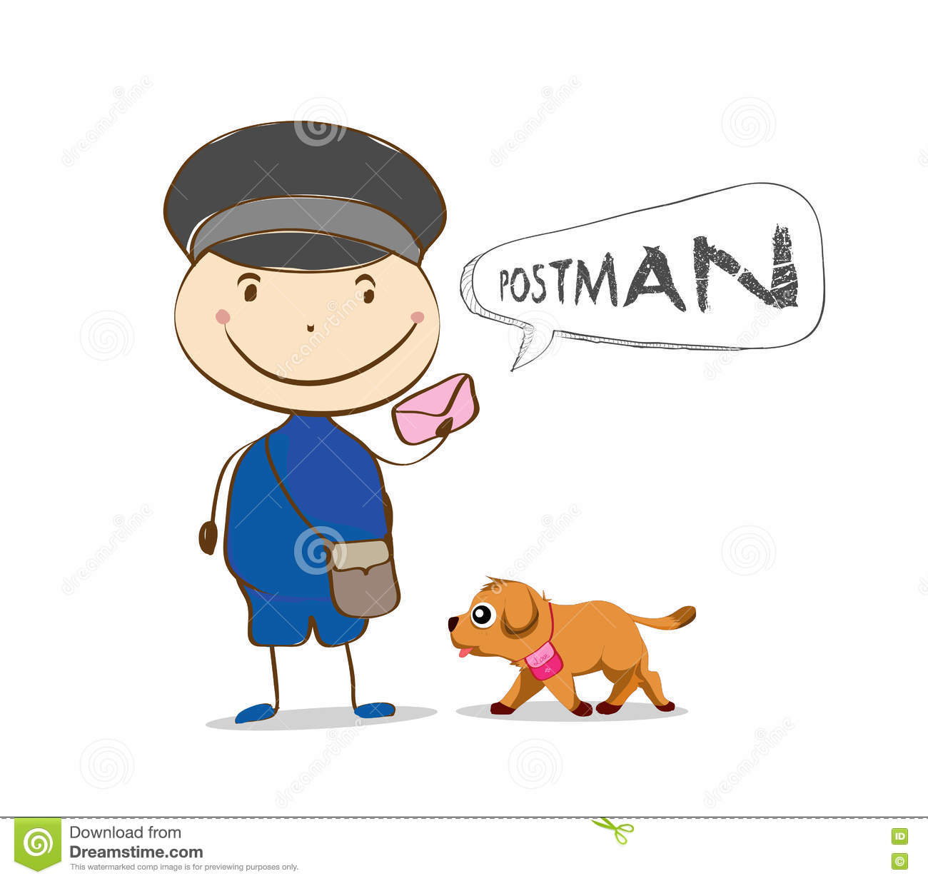 Cheerful Postman. Friendly Postman In Blue Uniform With ...