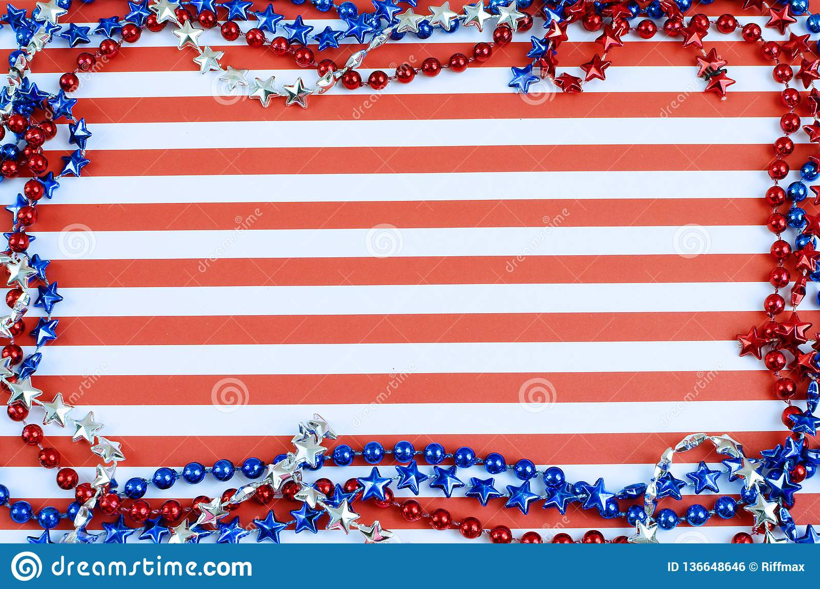 Cheerful red and white horizontal stripes form the background. Border is formed of shiny beads in red, silver and blue