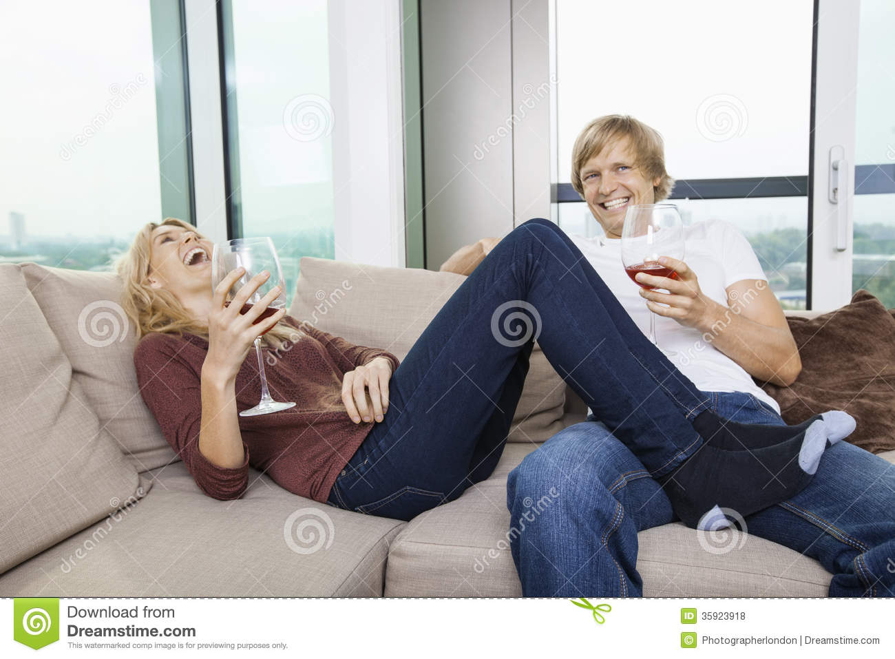 amusing nice living room stock photography image 18909472   Cheerful Relaxed Couple With Wine Glasses In Living Room ...