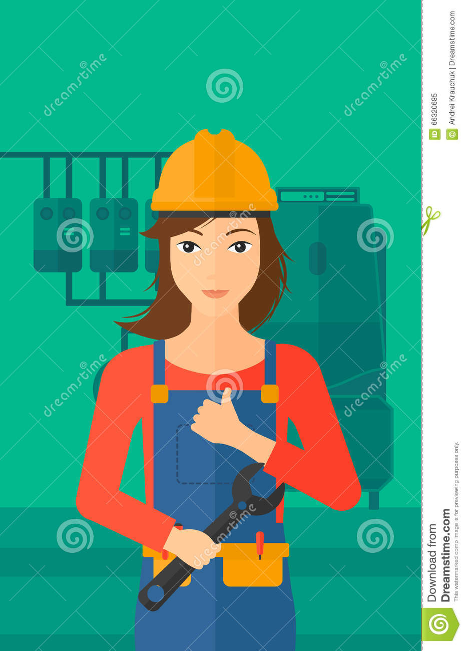 Cheerful Repairer With Spanner. Stock Vector - Illustration of human ...