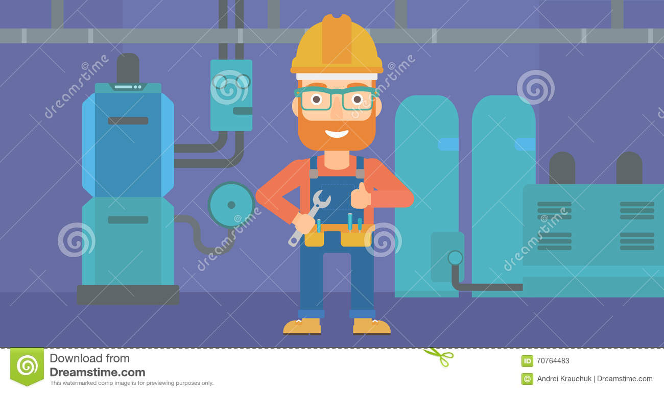 Cheerful Repairer With Spanner. Stock Vector - Illustration of ...