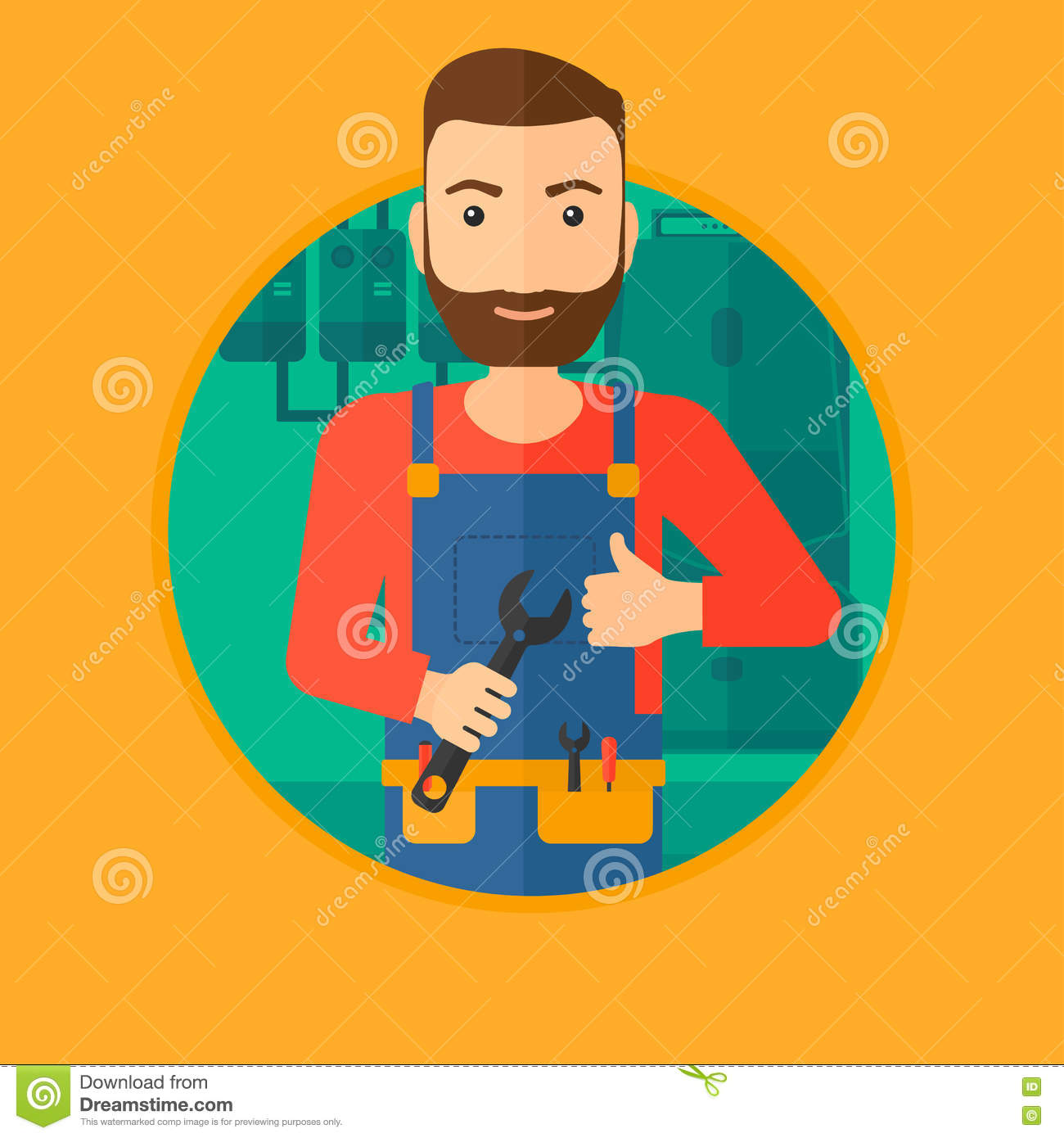 Cheerful Repairman With Spanner. Stock Vector - Illustration of ...