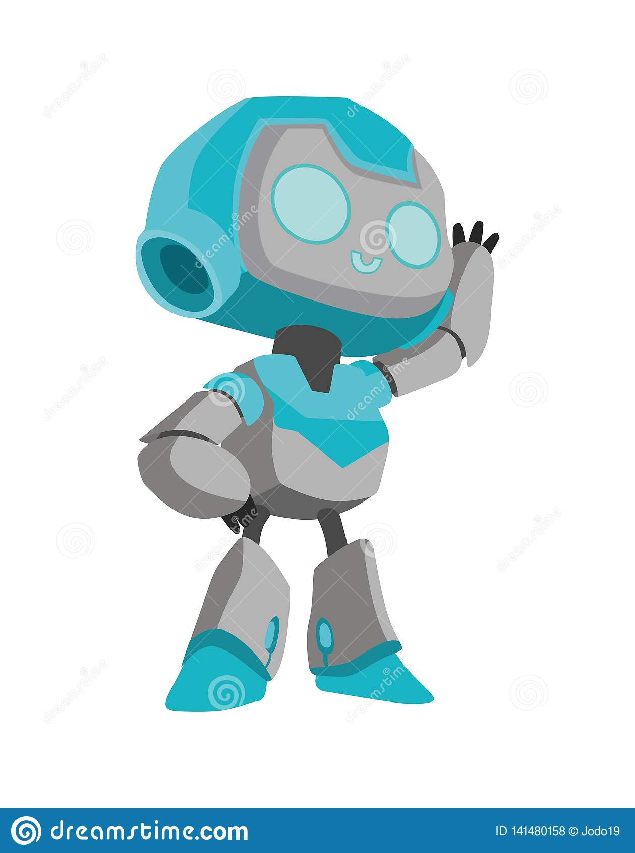 Cheerful robot welcomes