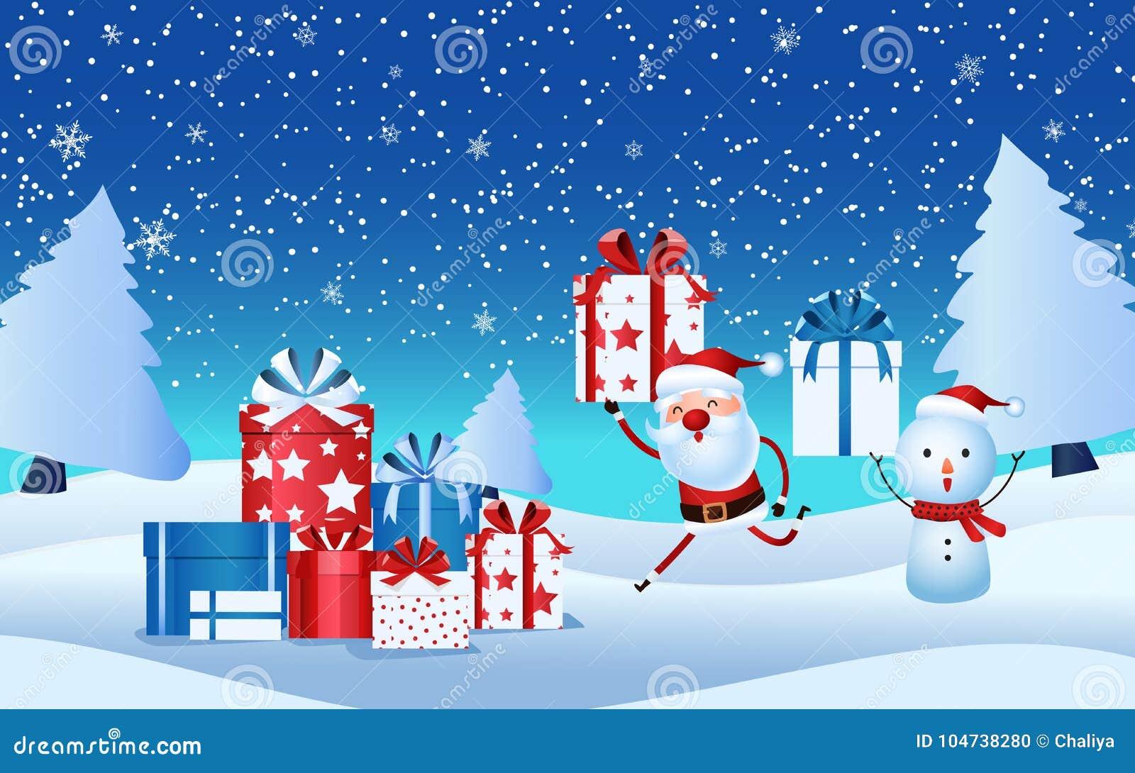Cheerful Santa Claus Snowman Holding Gift Box Christmas