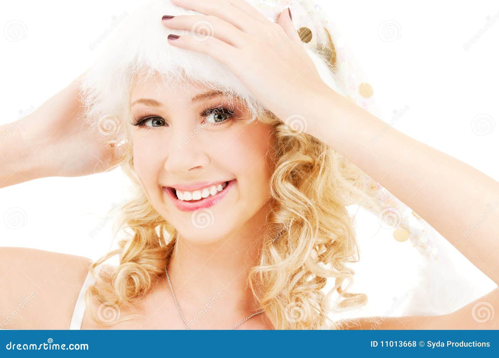 Cheerful santa helper girl