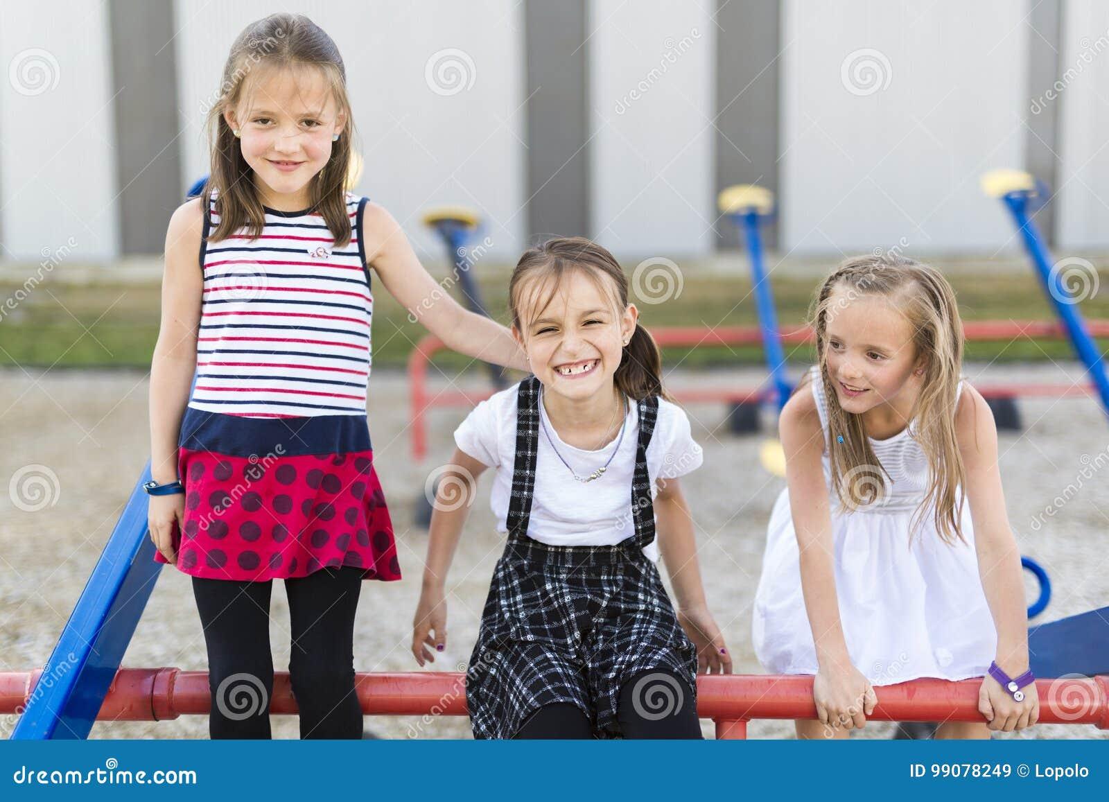 Cheerful School Age Child Play On Playground School Stock ...