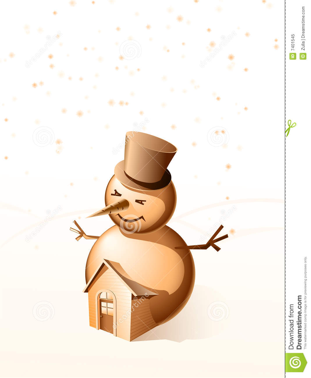 Cheerful snowball with a small house