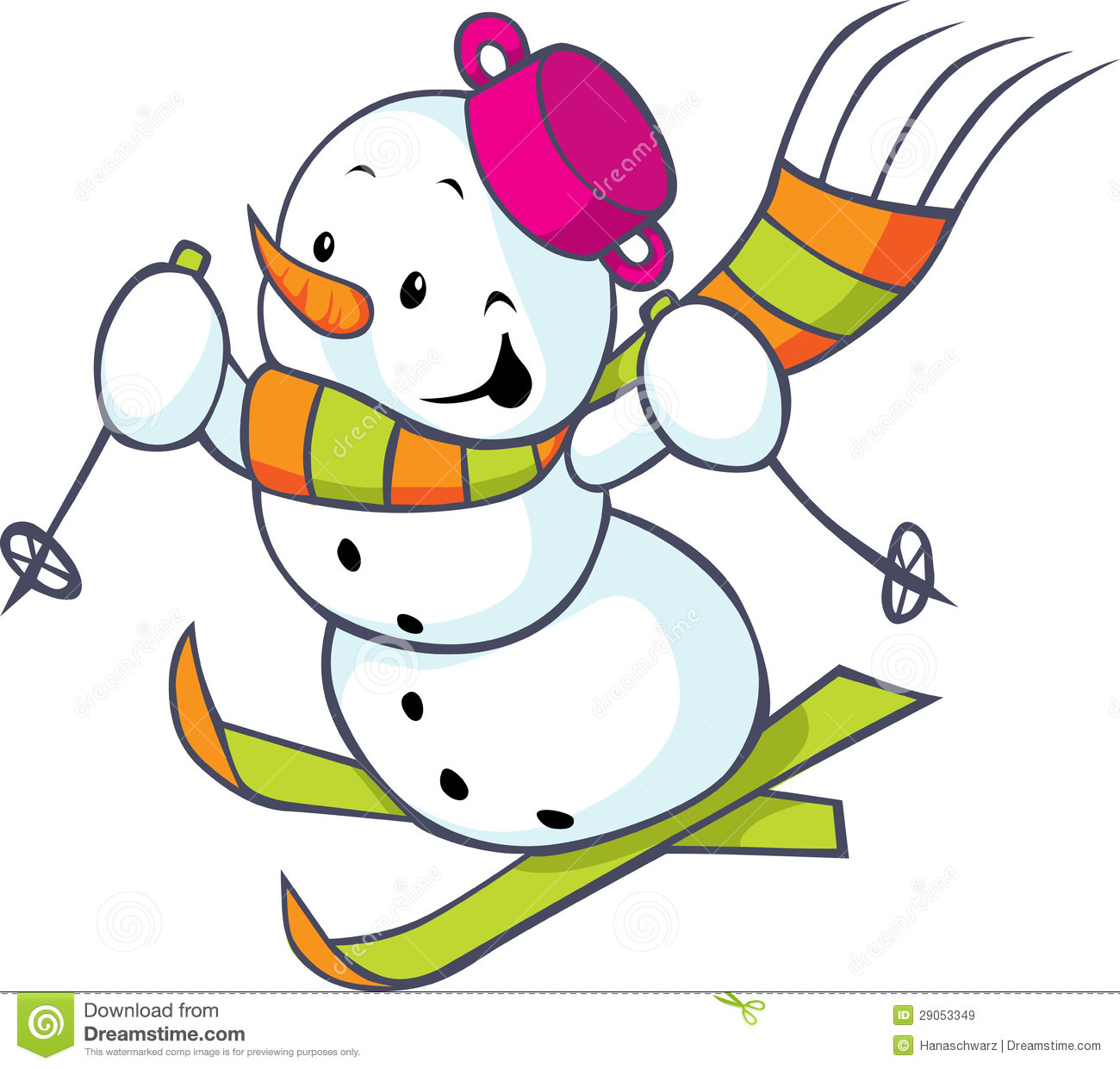 Cheerful Snowman On Skis Royalty Free Stock Images - Image: 29053349