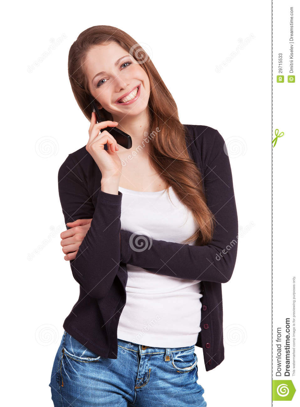 Cheerful girl talking on a mobile phone stock image for Mobel stylisch