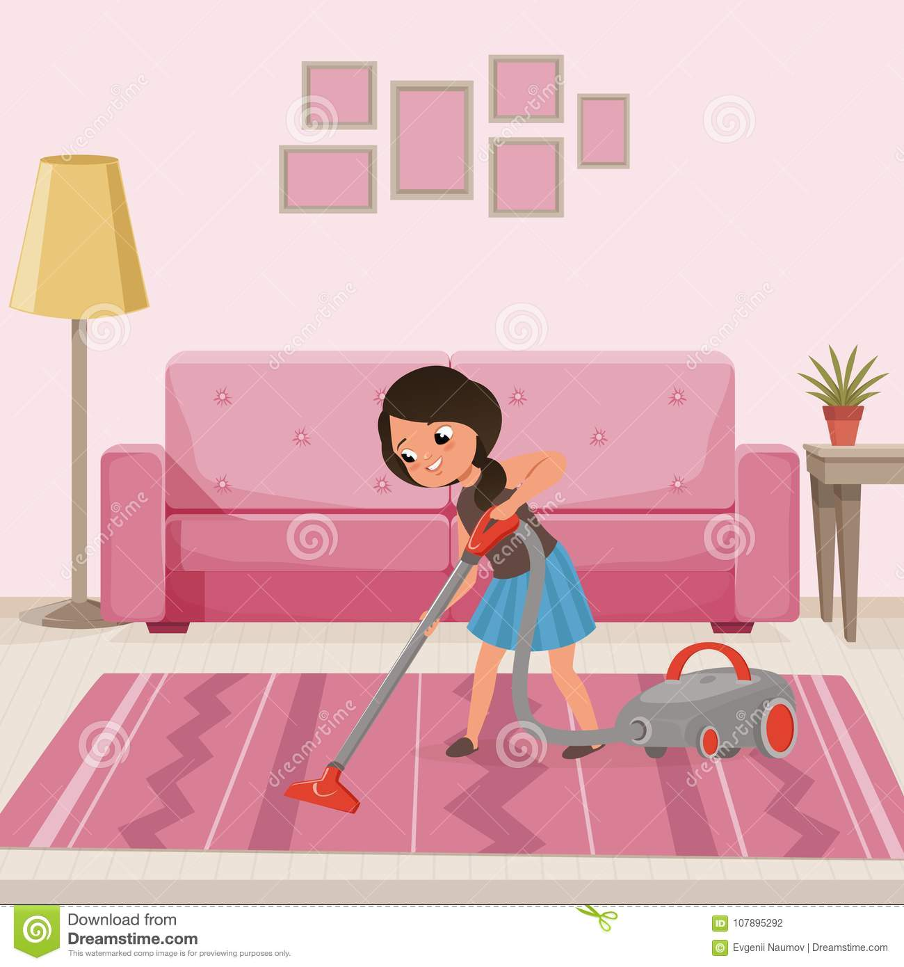 Download Cheerful Teen Girl Cleaning Carpet With Vacuum Cleaner At Living Room Child Helping