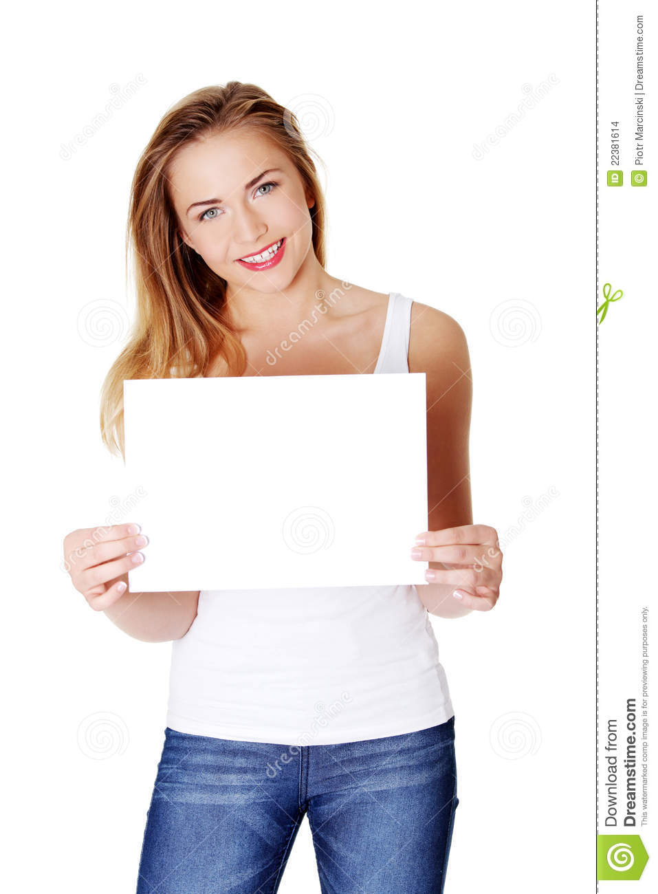 Cheerful Teen Girl Holding Blank White Paper Stock Images - Image ...