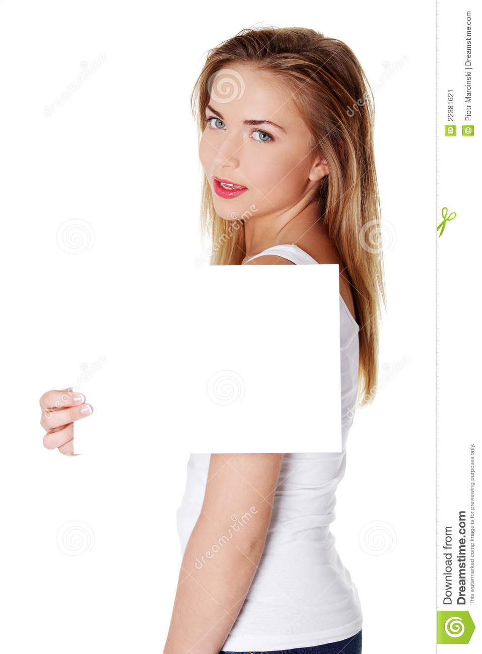 Teenage Caucasian Girl15 Years Old Sitting Outdoors: Cheerful Teen Girl Holding Blank White Paper Stock Image
