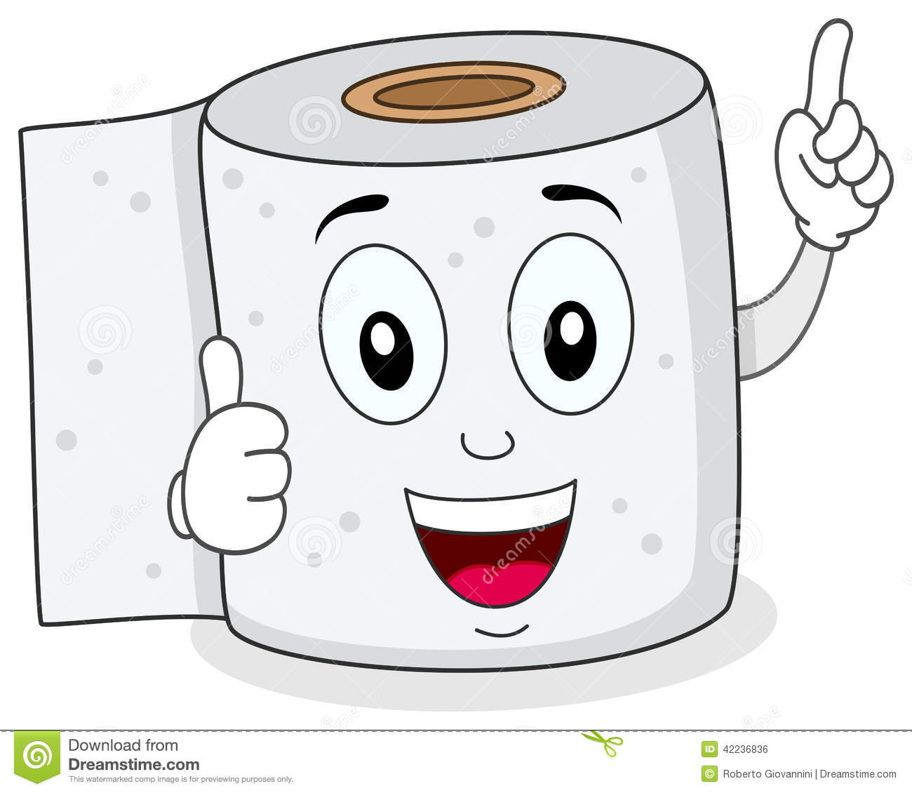 Cheerful Toilet Paper Smiling Character