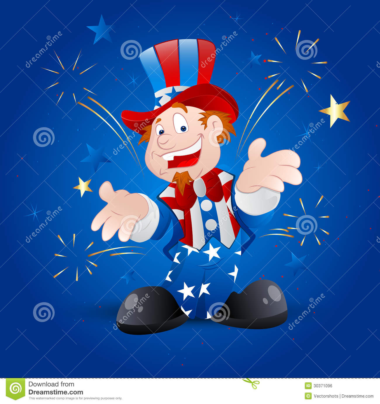 Vector Illustration of Cartoon Happy Cheerful Patriotic Uncle Sam ...