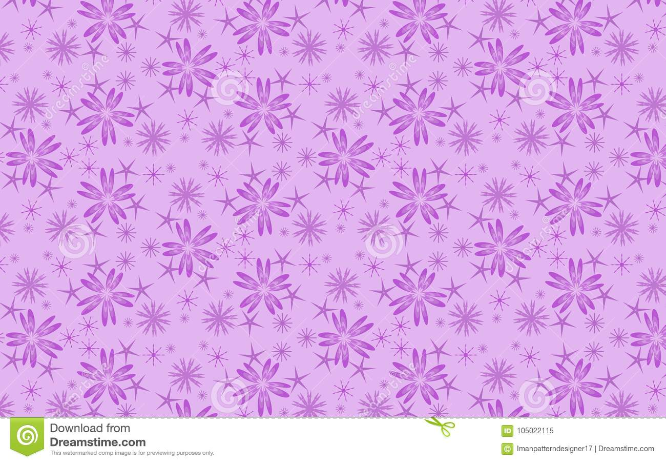 Cheerful violet snow flakes pattern over lilac background