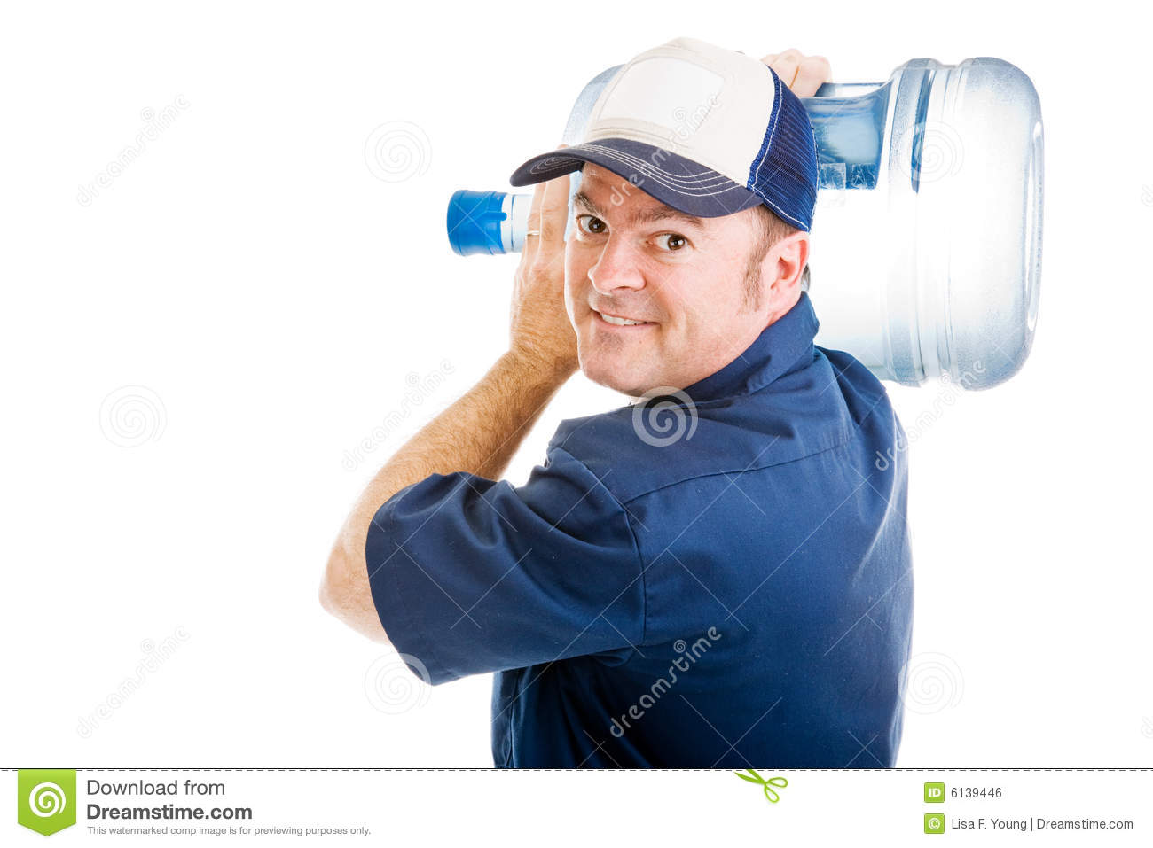 Cheerful Water Delivery Guy Royalty Free Stock Image