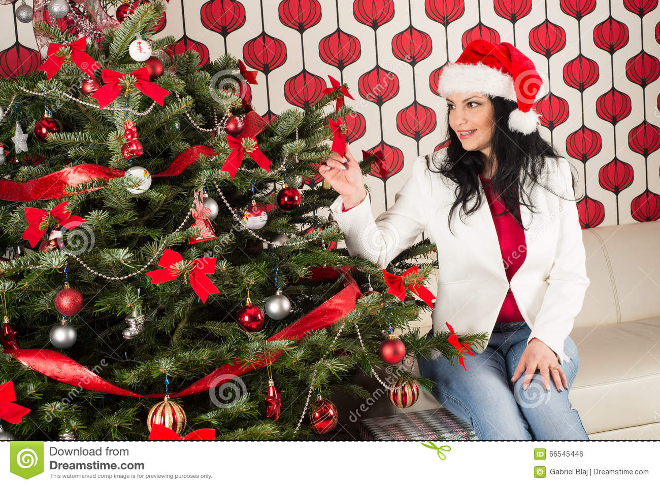 Cheerful woman with natural chrismas tree stock photo for Cheerful nature