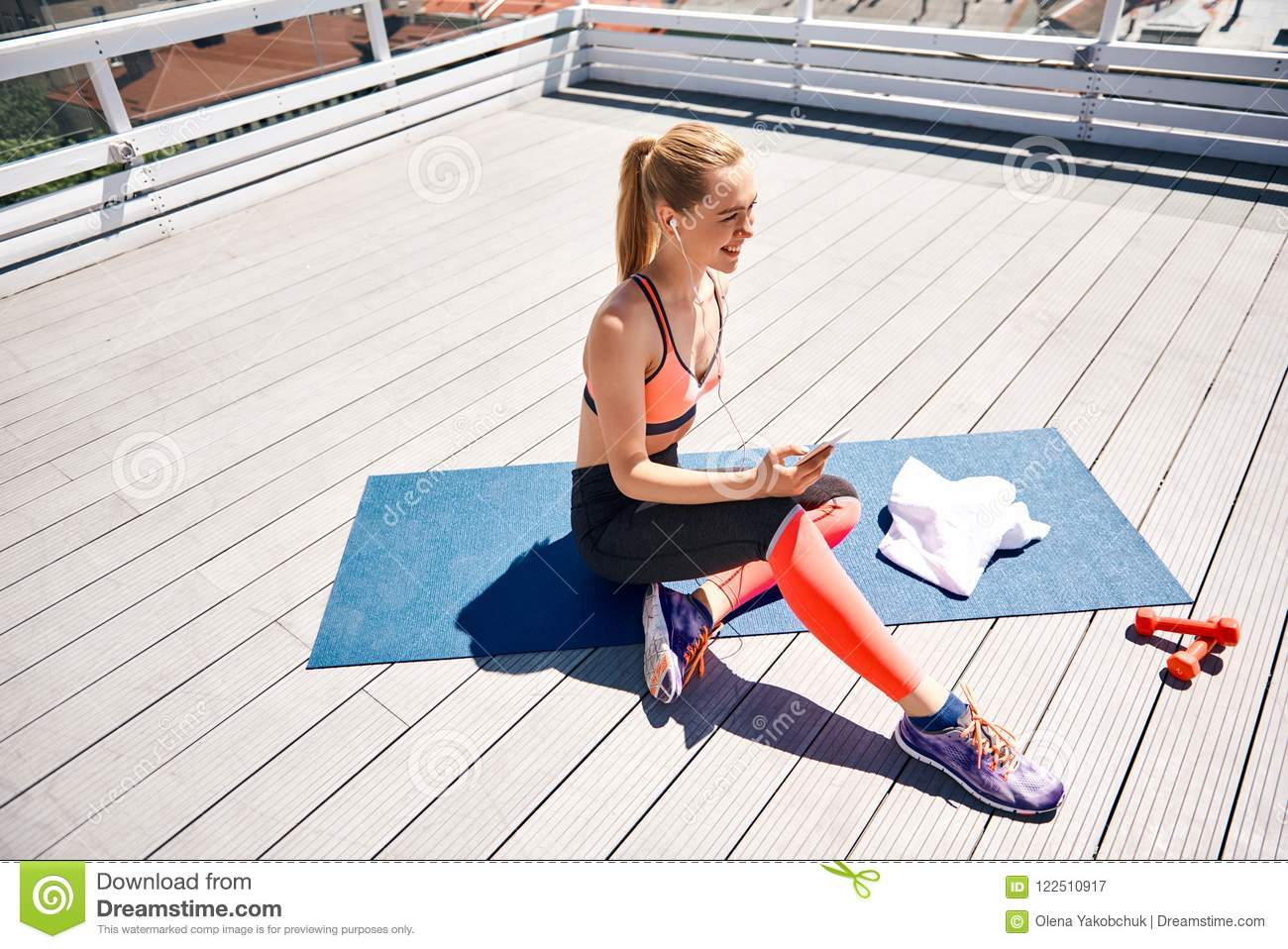 Cheerful Woman Is Training With Music On Terrace Stock Image - Image