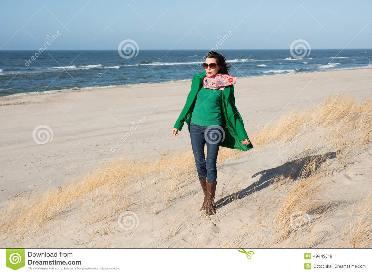 Cheerful woman walks on nature spring stock photo image for Cheerful nature
