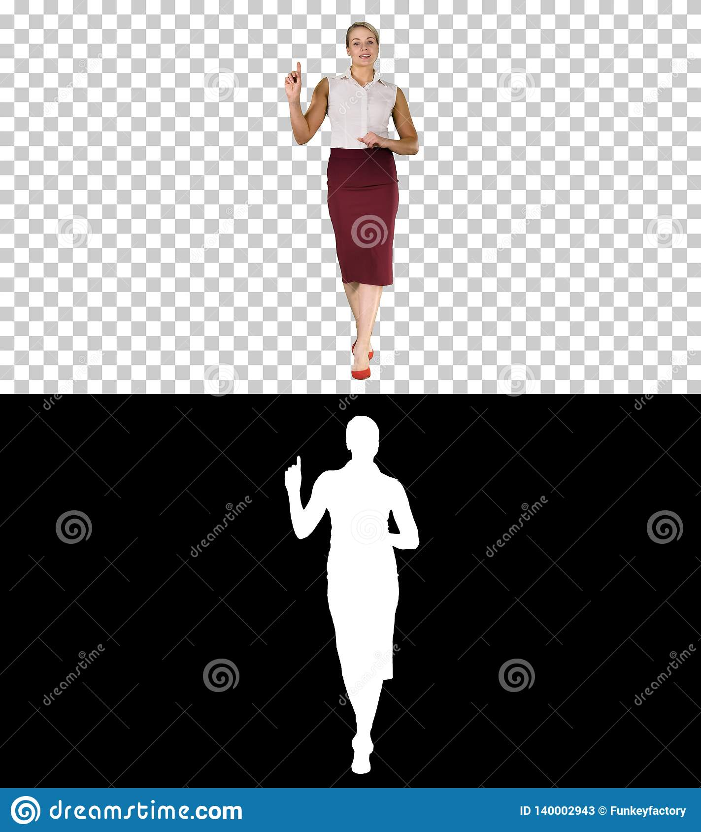 Cheerful young beautiful woman in formal clothes walking, talking to the camera and pointing to the side, Alpha Channel