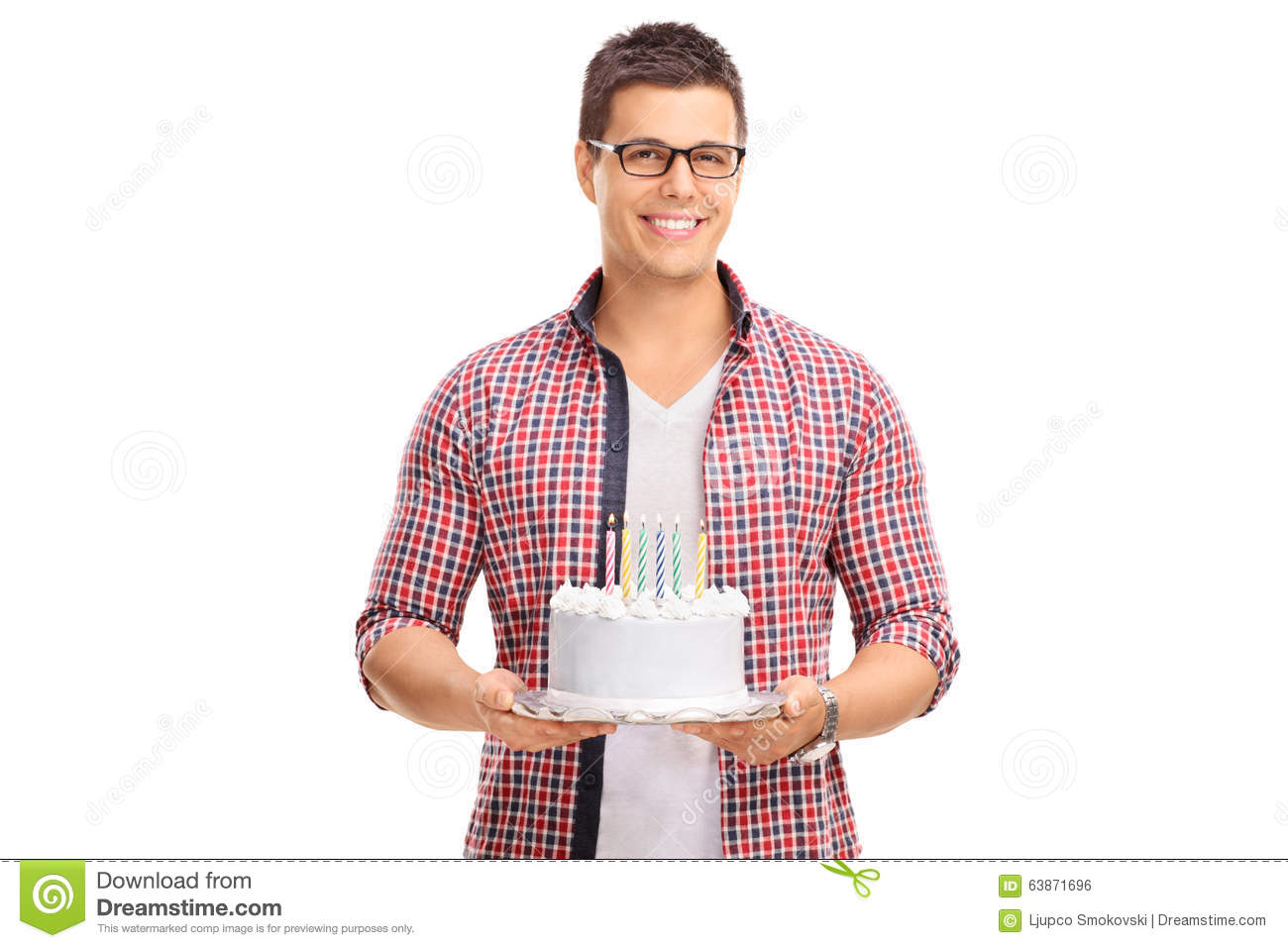 Astonishing Cheerful Young Guy Holding A Birthday Cake Stock Photo Image Of Personalised Birthday Cards Paralily Jamesorg