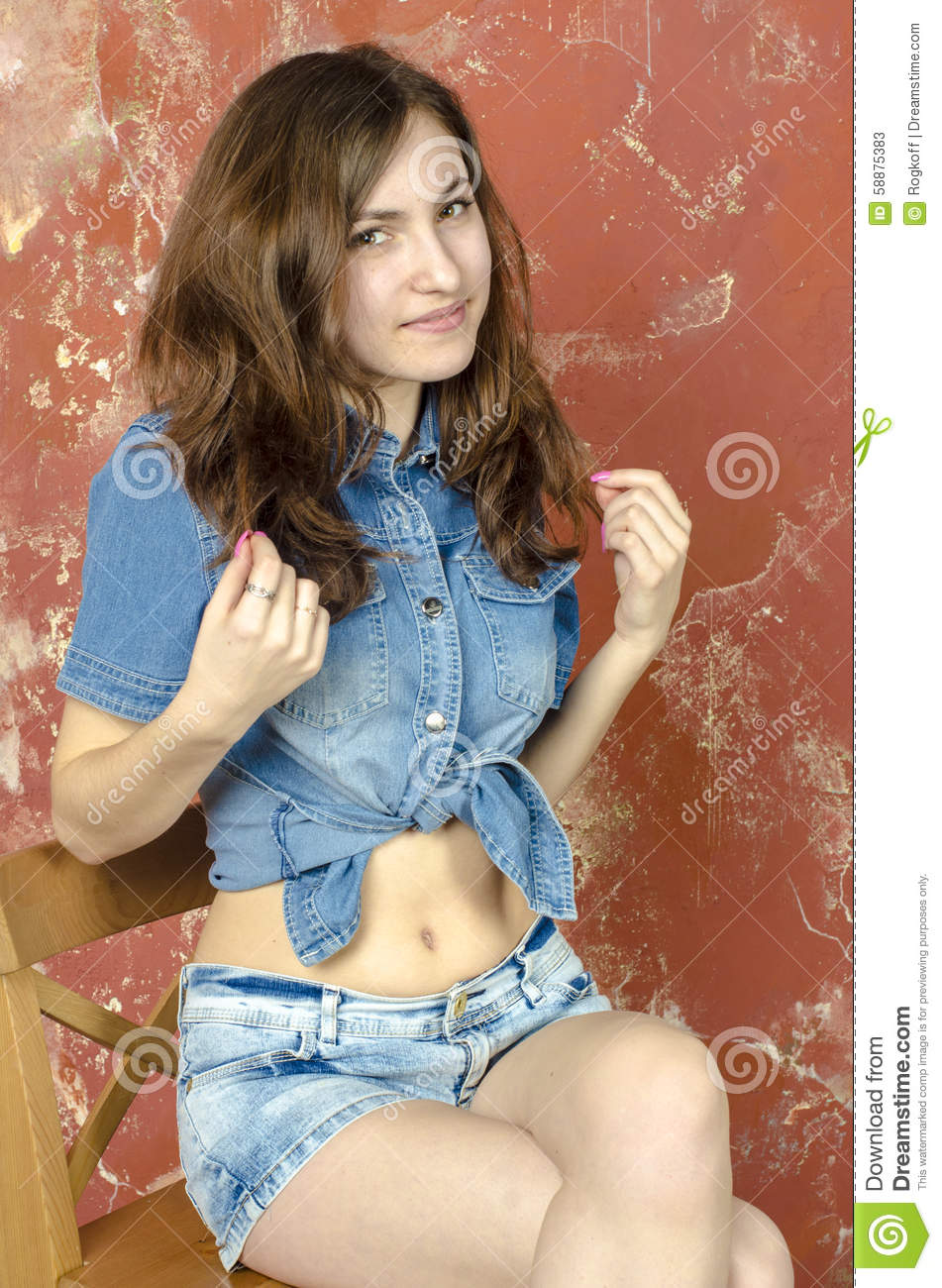 Cheerful Young Teen Girl In Denim Shorts Stock Photo - Image: 58875383