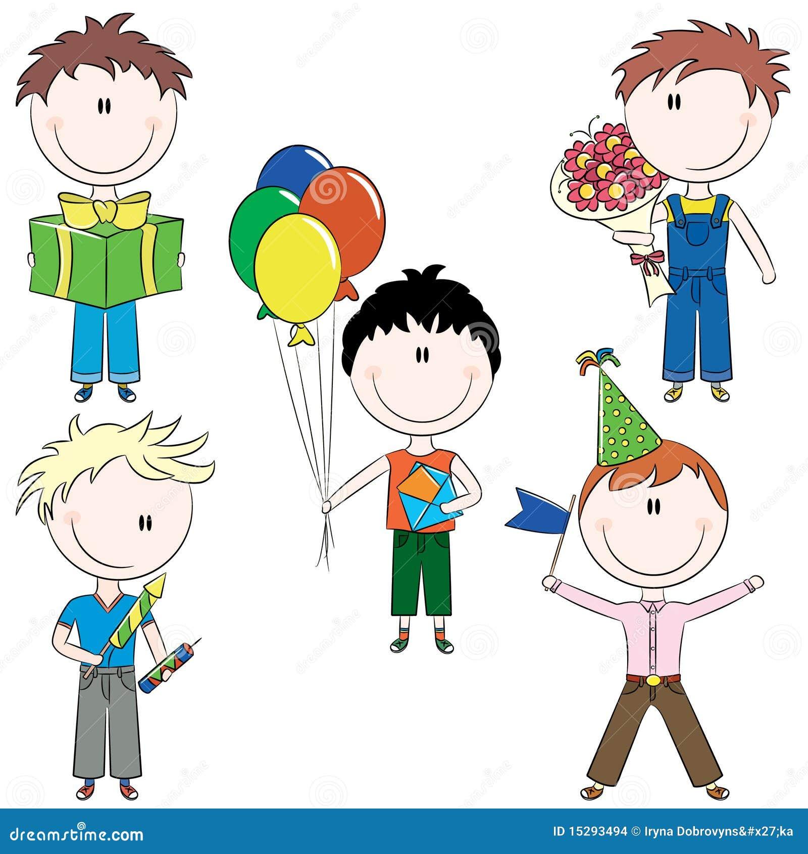 Cheerfull Kids Make Happy Birthday Wishes Stock Vector