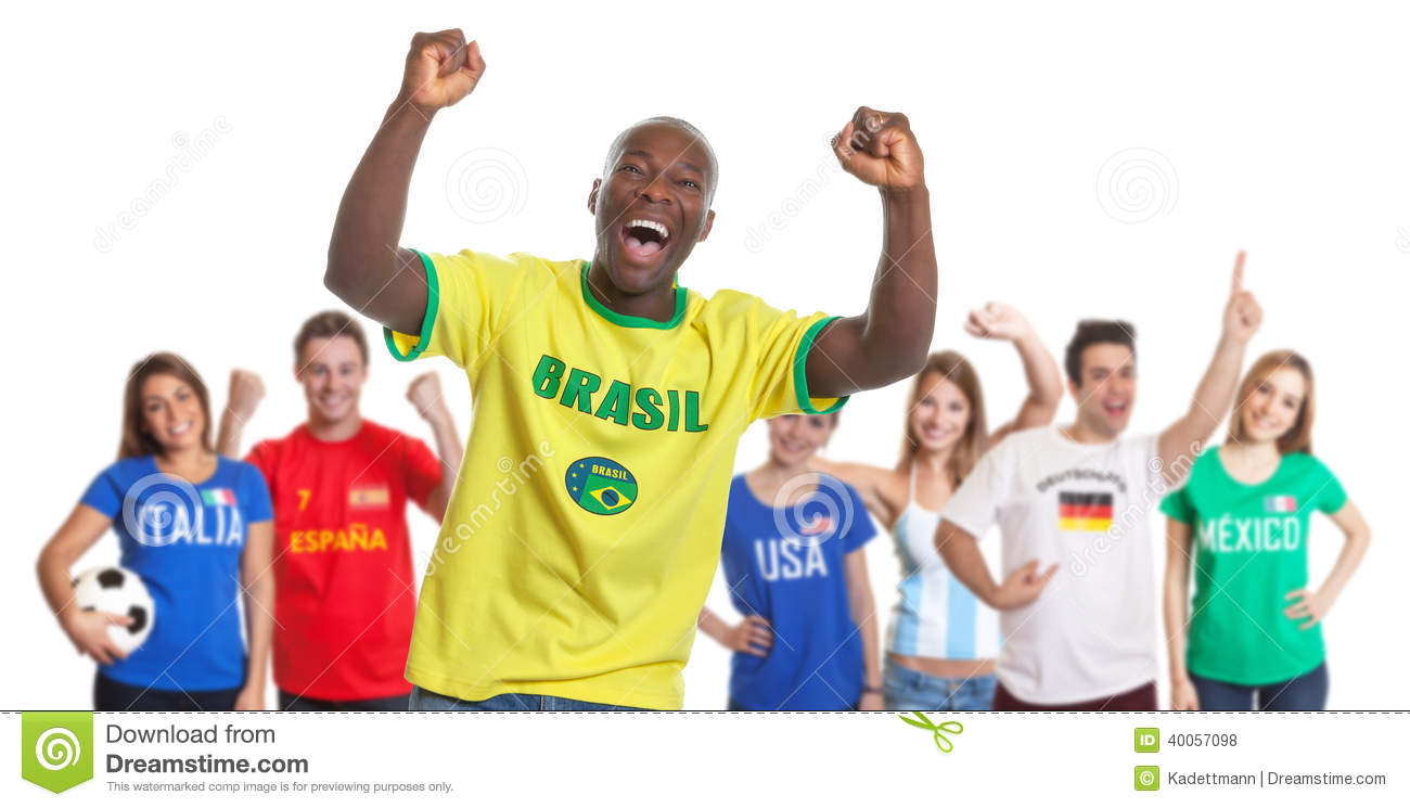 Portuguese Soccer Fan With Fans From Other Countries Stock ...