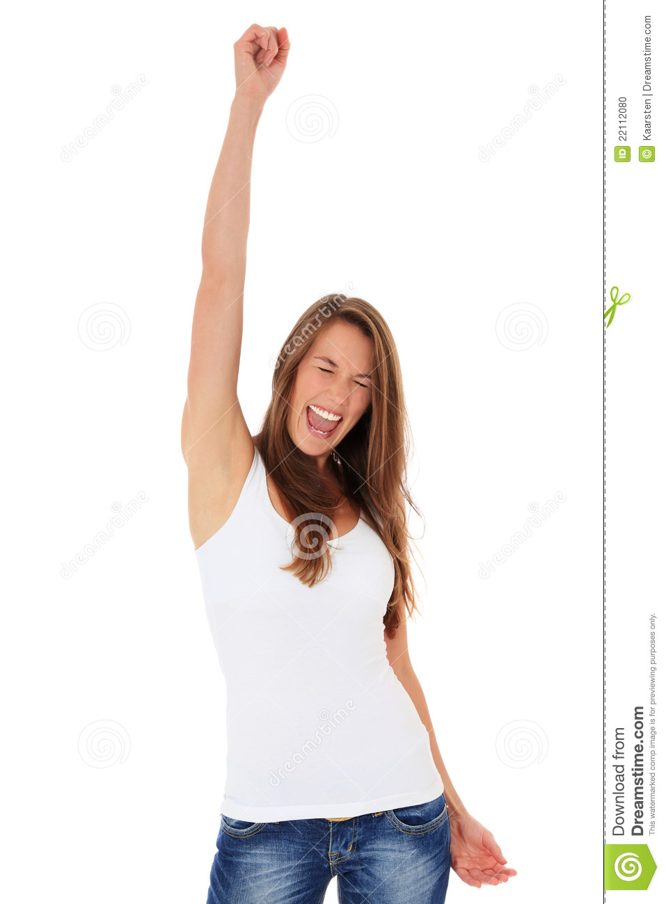 Cheering young woman stock photo. Image of isolated, happy ...