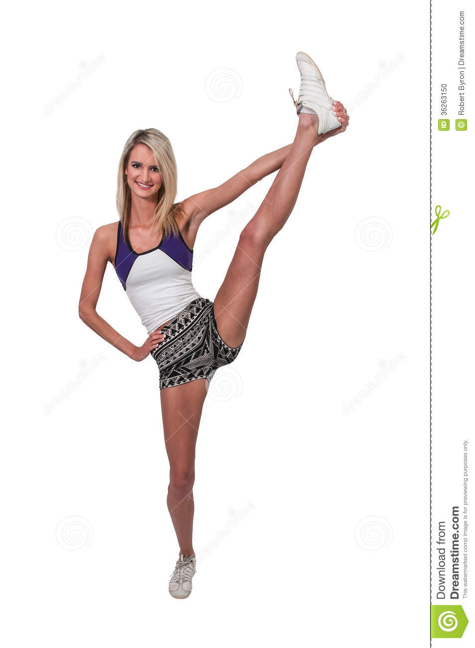 Beautiful young woman in a cheerleading uniform.
