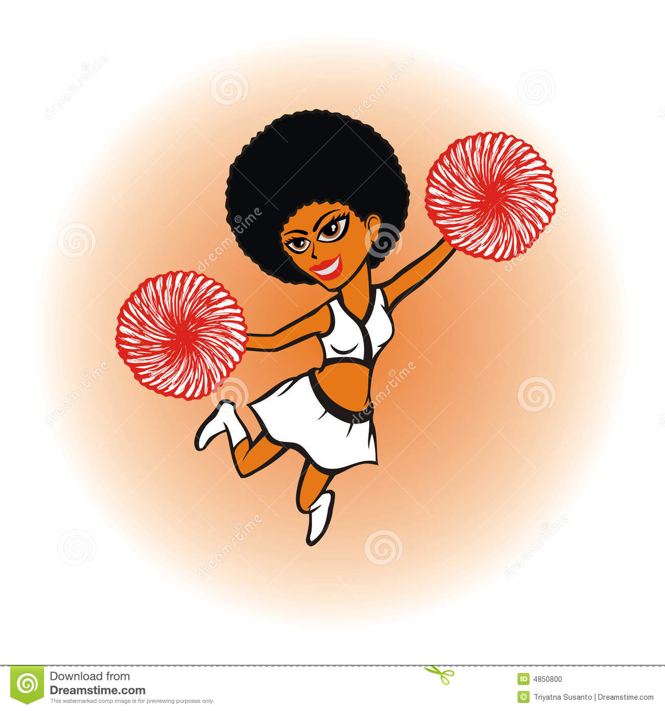 Cheerleader cartoon design illustration on white background.
