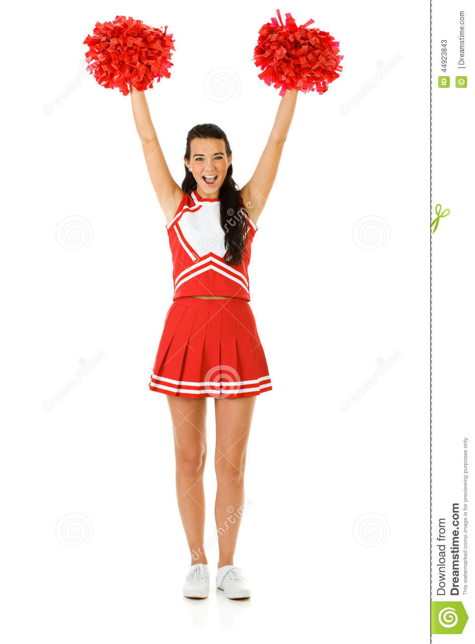 Cute female as an American sports cheerleader, in red and white outfit ...
