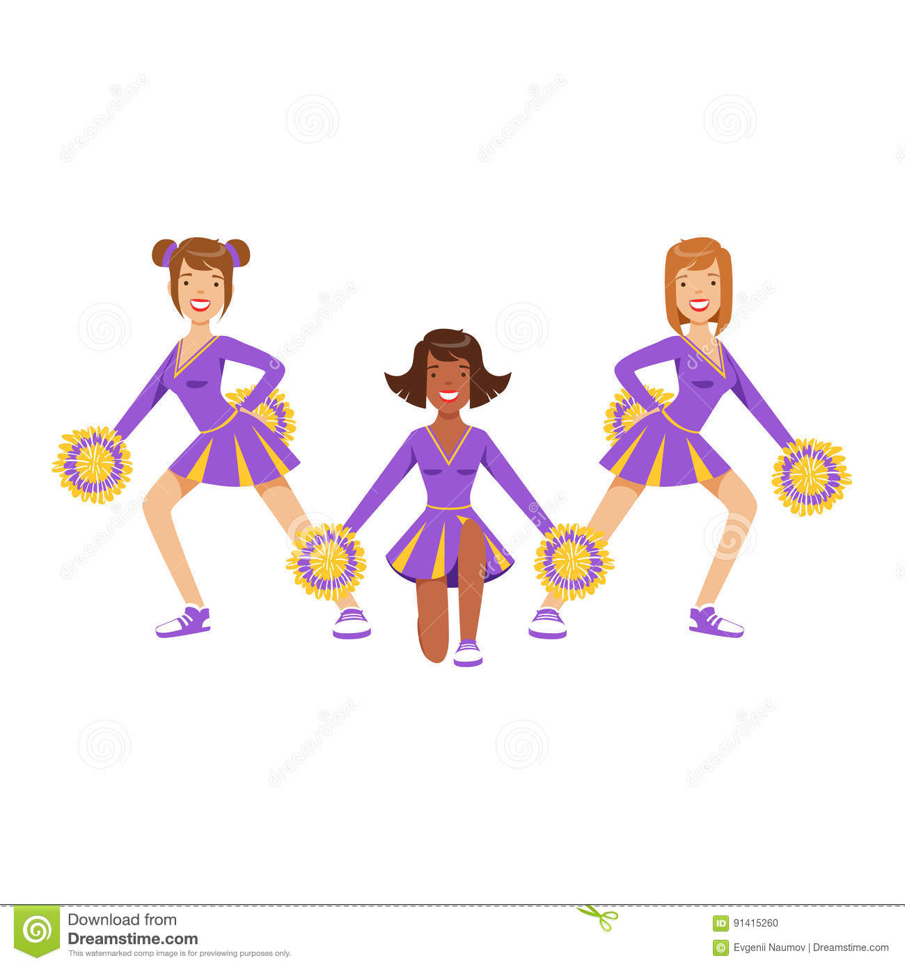 Cartoon Character Design Competition : Cheerleader girls with pompoms dancing to support football