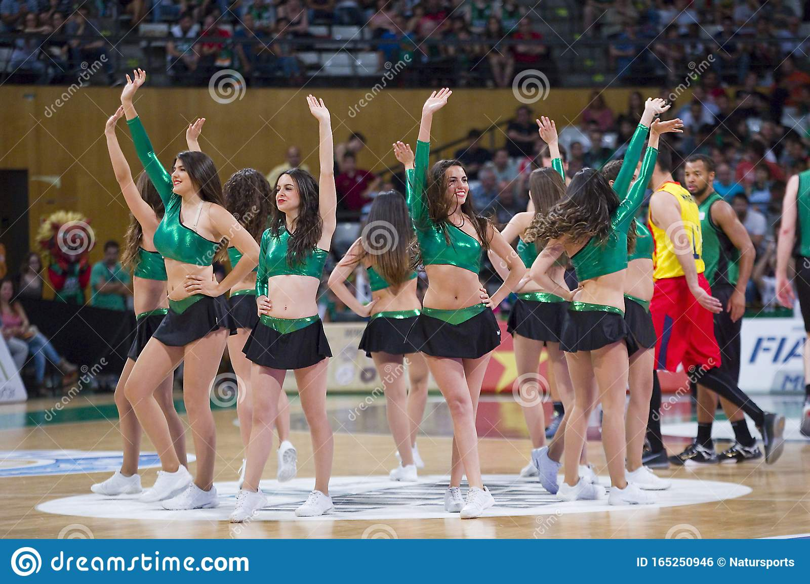 Cheerleader Of FC Barcelona In Action During A Euroleague Match.. Stock  Photo, Picture And Royalty Free Image. Image 19075040.
