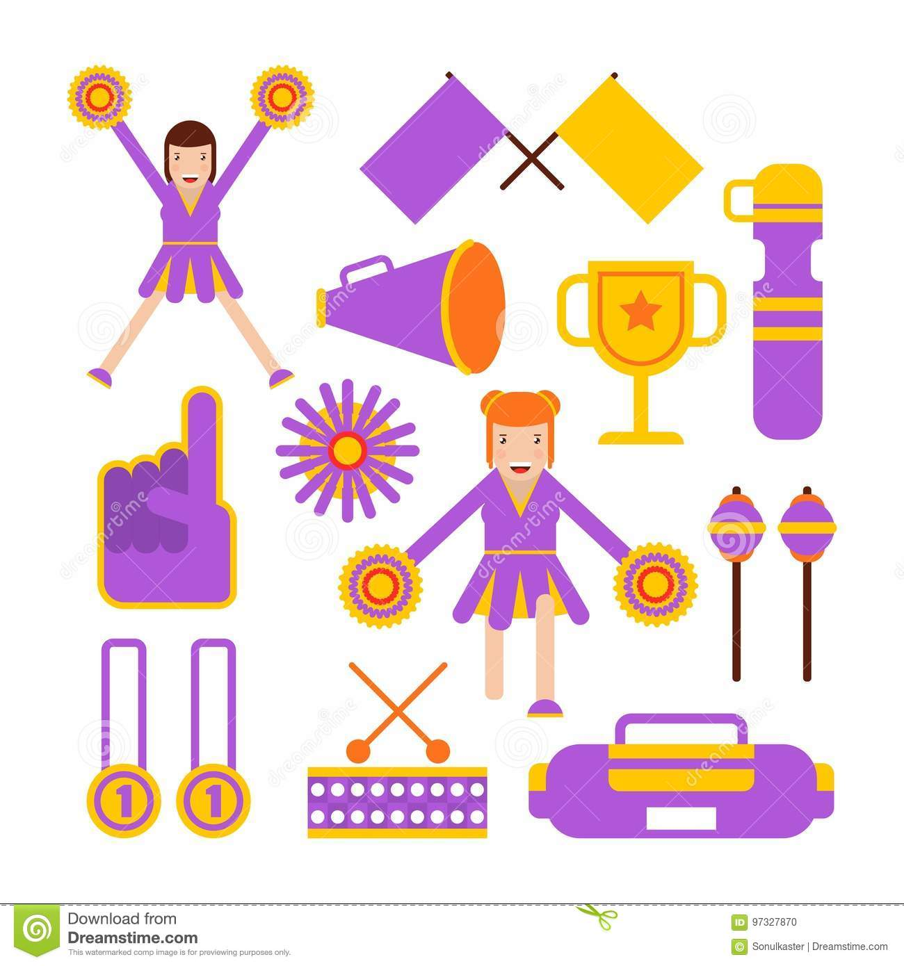 Cheerleaders Girls And Cheerleading Garments Vector Flat Isolated Icons Of Pom Poms Fan Flags Or Whistles And Megaphone Sport Club Winner Cup Awards And