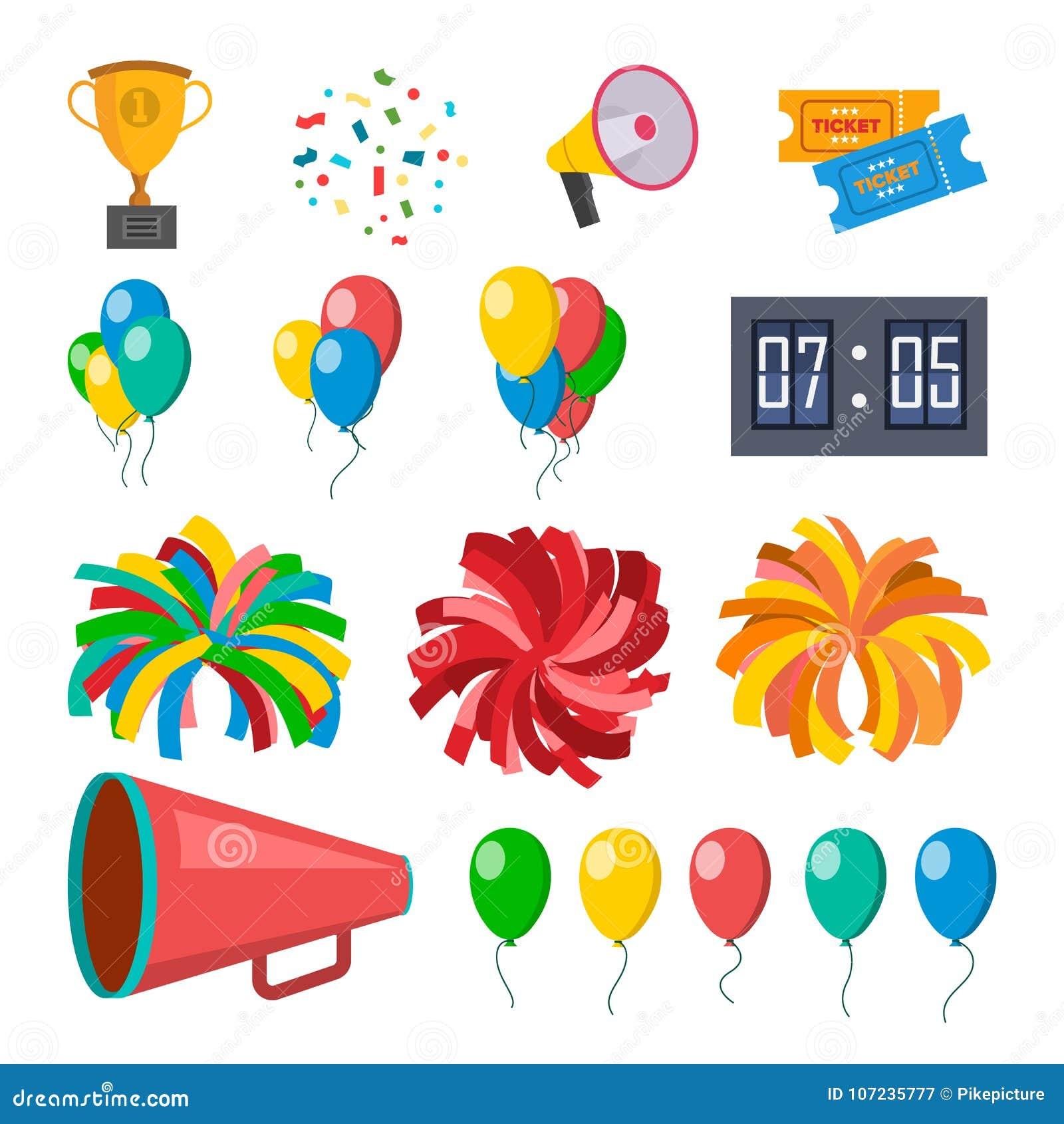Cheerleading ikona Ustawiający wektor Cheerleaders akcesoria Pompony, balony, confetti, megafon Odosobniona Płaska kreskówka