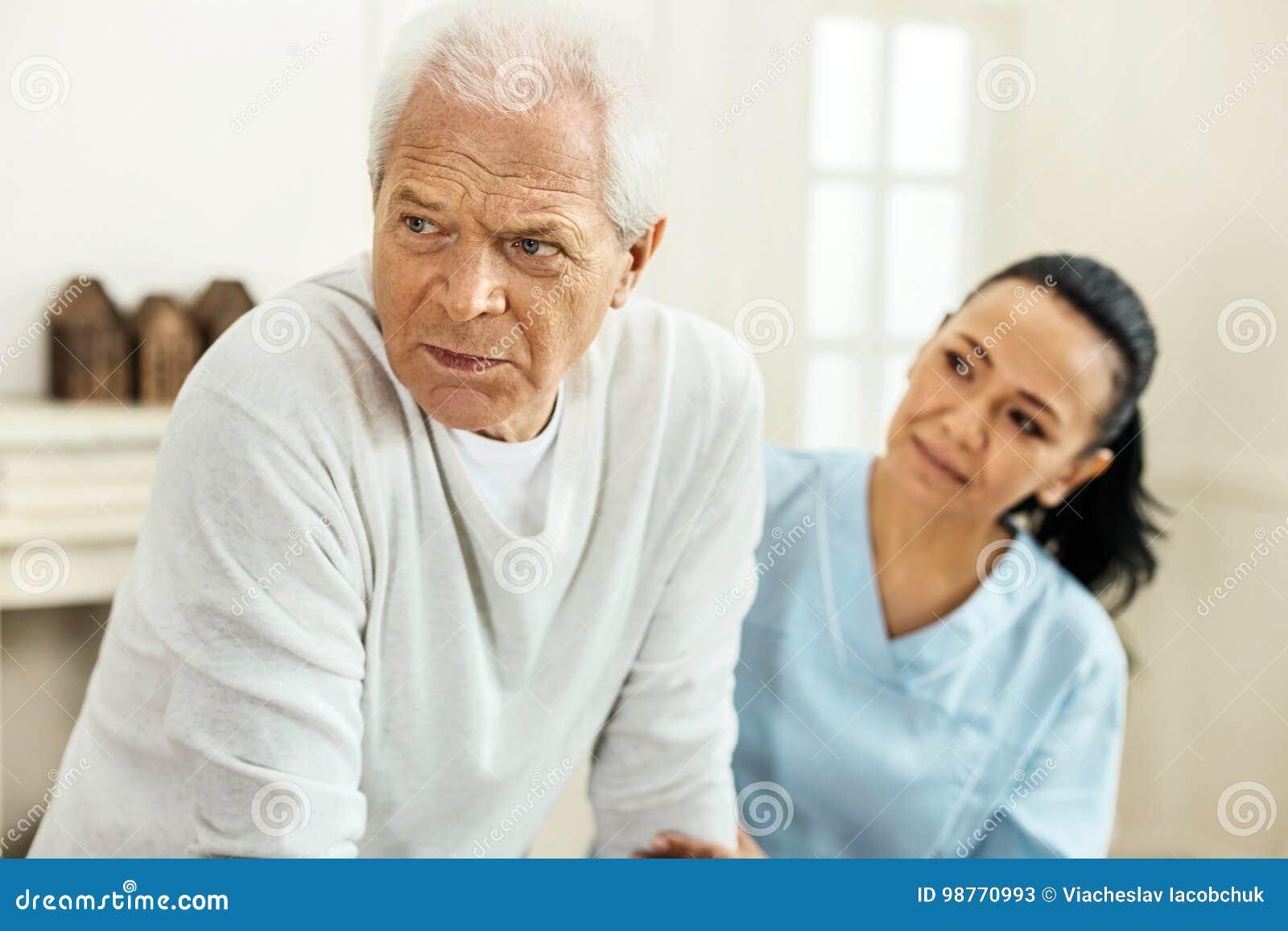 cheerless elderly man feeling depressed stock image image of