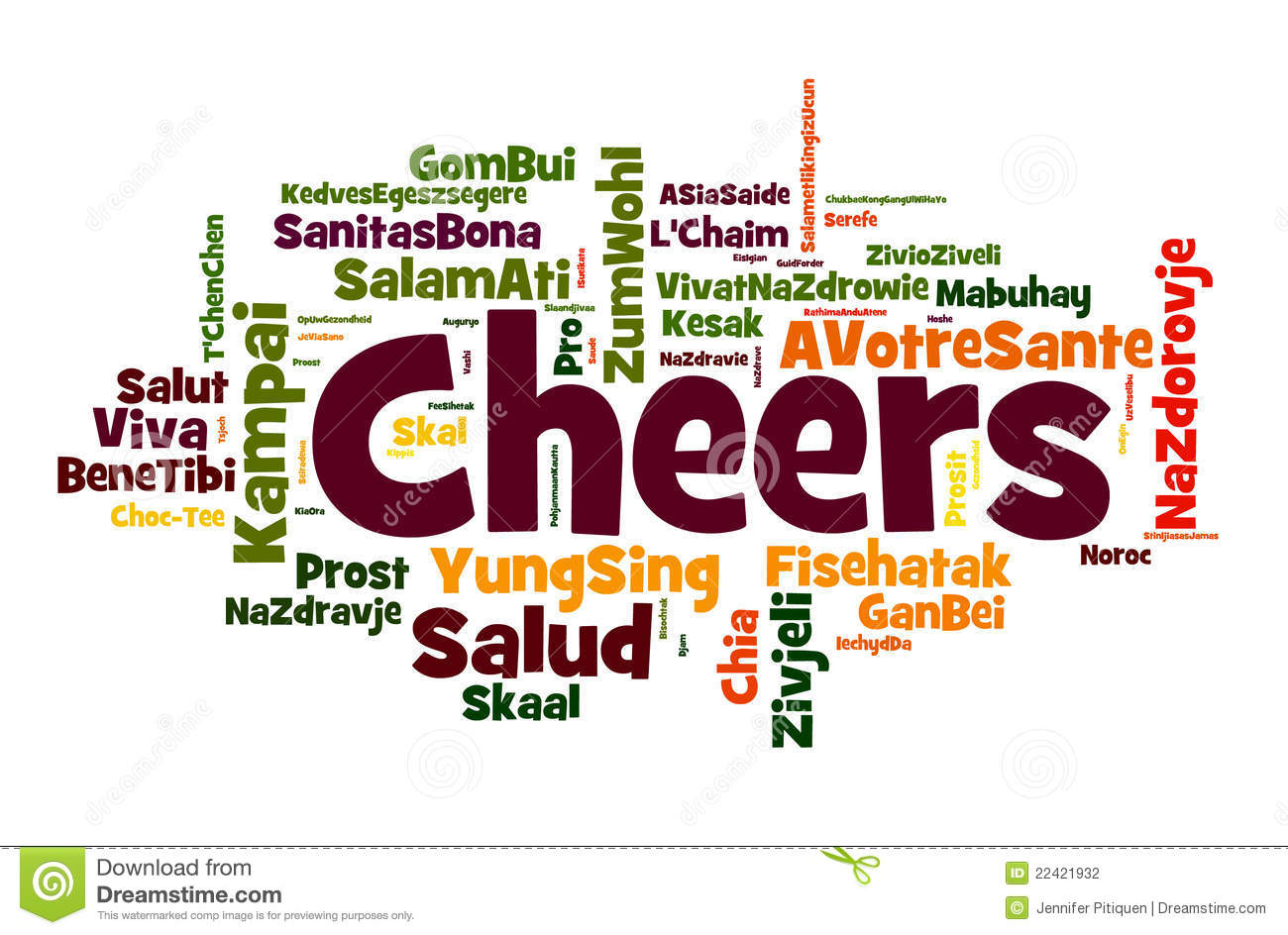 of words of the word cheers, or a toast of good wishes in different ...