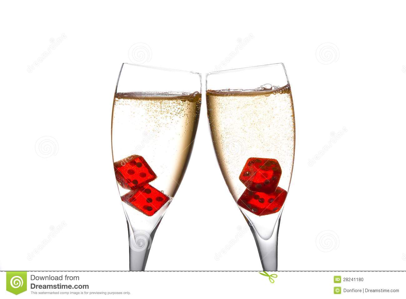 Cheers Red Dice In Two Champagne Flutes With Gold Bubbles