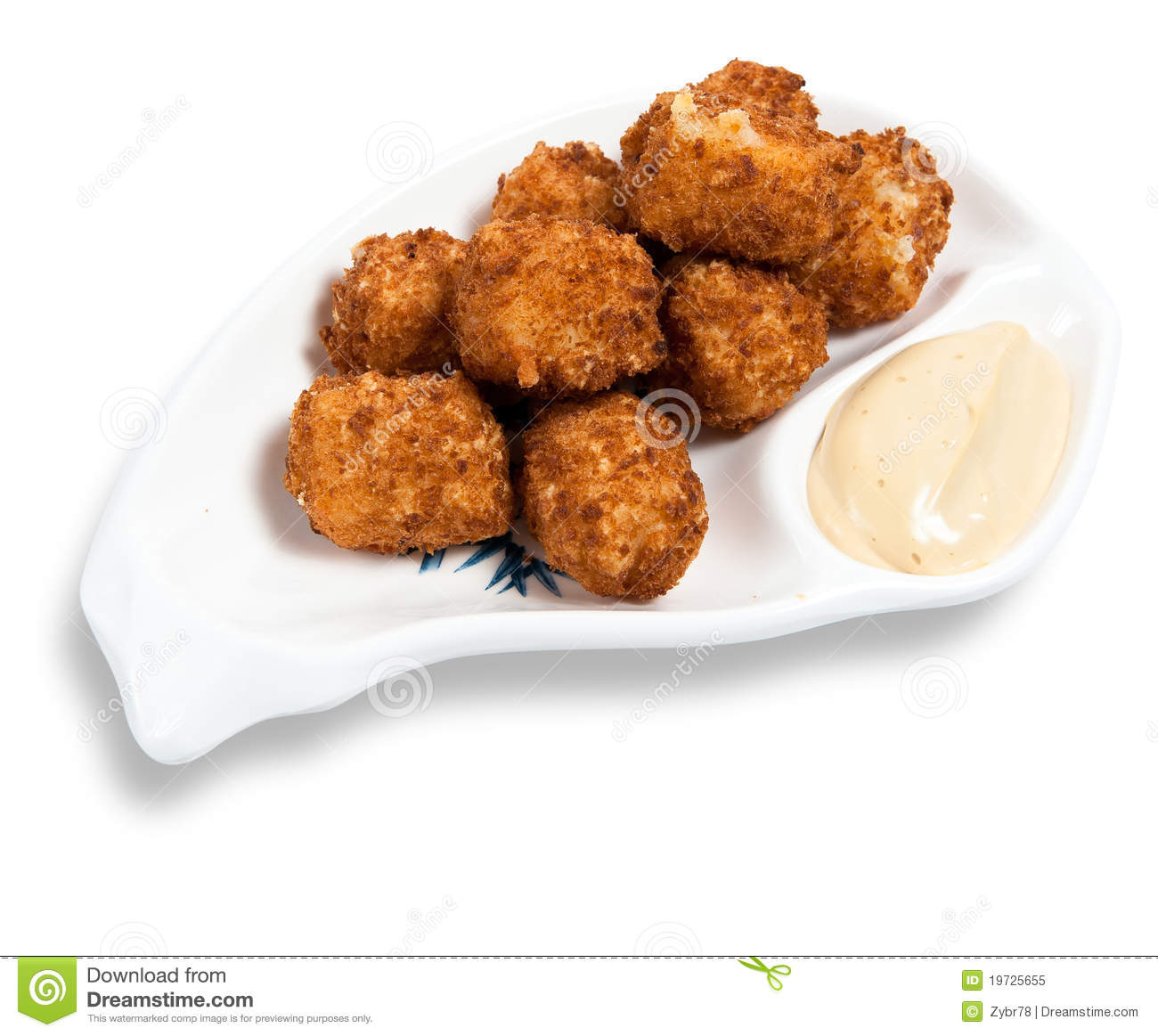 Cheese balls with garlic sauce