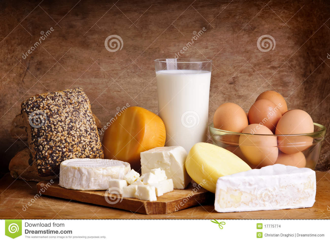 Cheese, bread, milk and eggs